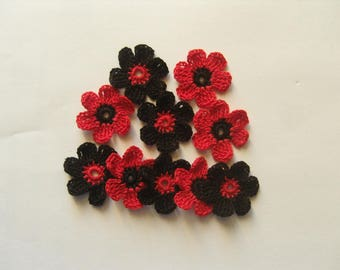 Crocheted appliques, set of 10 red and black flowers