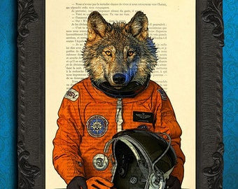Wolf in orange space suit poster, animal astronaut art print, wolf dictionary wall decor