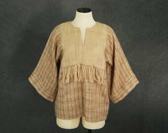 vintage 70s Tunic Sweater - 1970s Handwoven Wool Shirt Boho Beige Wool Top SZ M L Xl