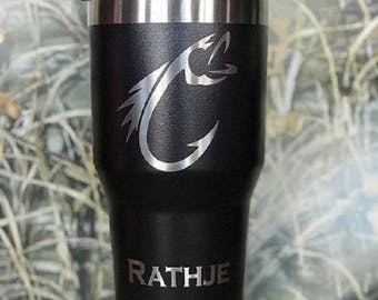 Personalized 30 oz Custom Coffee Tumbler Hunting/Fishing Gift Travel Cup Groomsmen Father Laser Birthday