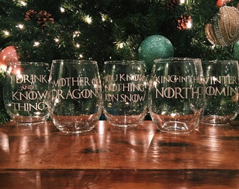 Game of Thrones Etched Stemless Wine Glass - Choose Your Character or Quote!
