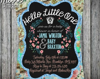 Rustic Baby Shower Invitation - Digital File