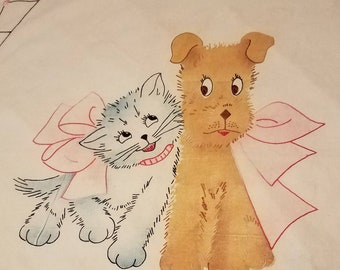 Vintage Baby Crib Top Sheet with Adorable Kitten and Puppy Embroidery
