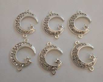 6 Beautiful Crescent Moon Connector Beads. Small Connectors. Crystal Connectors.