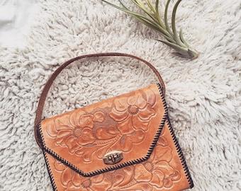 REDUCED-10% OFF Vintage Tooled Leather Handbag , 70's leather purse , Boho handbag, Vintage leather bag