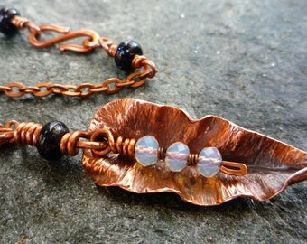 Copper leaf necklace Copper necklace Elegant necklace Gemstone Fold formed leaf necklace OOAK Hammered copper Copper jewelry