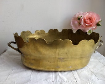French vintage / antique brass planter / jardiniere with two handles.
