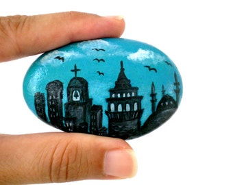 Painted Stone , Galata- Istanbul Cityscape Painted River Rock