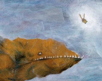 Affiche mer, POISSON. Déco chambre enfant. Affiche enfant, SOUS-MARINE, aquatique, drôle. Impression signée, 45 x 32 cm. Lapin, Ciacio