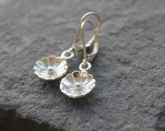 Sterling silver Petite Earrings, Metalwork,  every day earrings, Stocking Stuffer petite flower earrings Sale