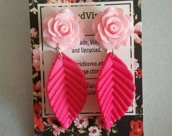 Pink Rose Hot Pink Leaf Acrylic Earrings