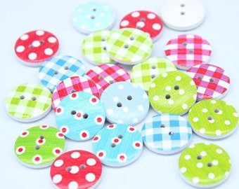 20 x Plaid and Dot Pattern Buttons 20MM