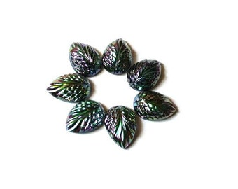 6 leaf shape vintage  glass cabochon high quality