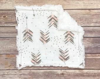 Security Blanket - Arrow Baby Blanket - Arrow Baby Bedding - Woodland Nursery - Infant Blanket - Lovey Blanket - Lovie Blanket - Baby Girl