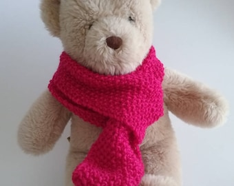 Teddy Bear Clothes, Magenta Moss Stitch Handknitted Scarf