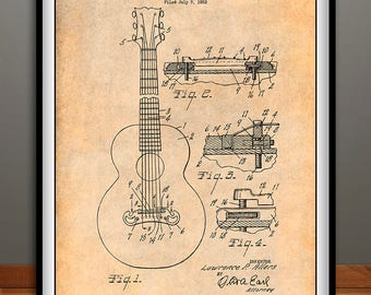1952 Gibson Guitar Bridge Patent Print, Guitar Art, Guitar Player Gift, Acoustic Guitar, Musician Gift, Music Room Decor, Guitarist Gift