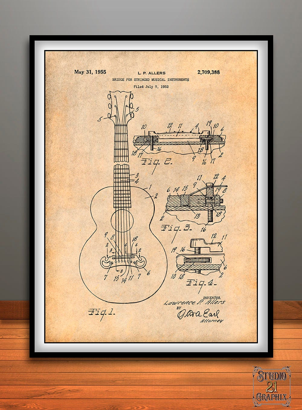 1952 Gibson Guitar Bridge Patent Print Guitar Art Guitar
