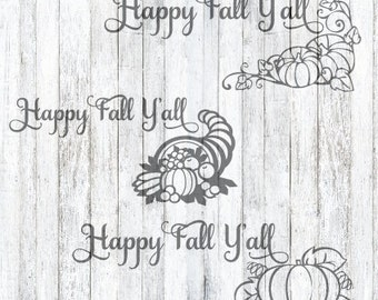 3 SVG Files Happy Fall Y'all, Fall DIY, Fall Decor, Fall SVG, Happy Fall Y'all svg