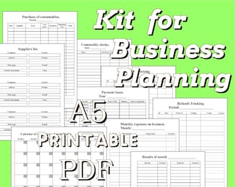 Business Planner A5, Printable 5.8 x 8.3 inches, Home Business Planning Organizer Filofax Planner Inserts Weekly Monthly Calendar, a5.