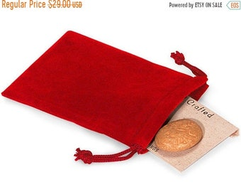 TAX SEASON Stock up 100 Pack Red Velvet Drawstring Bags great for Weddings, Party favors, Jewelry, Etc