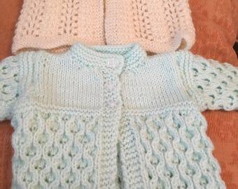 2 new hand knitted babies/dolls 16inch mint/cream woollen cardigans