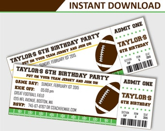 Football Party Invitation - Football Birthday Invitation - Football Invitation - Football Ticket Invitation - Printable (Instant Download)