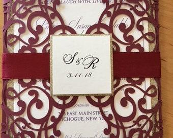 Burgundy laser wedding invitations