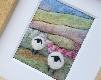Felted wool Sheep landscape - needle felted and hand embroidered fabric collage picture - miniature fibre art, felted wool art