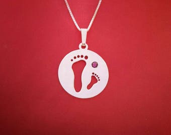 Footprint necklace for mom child footprint necklace mother daughter necklace mother jewelry mother's day gift godmother jewelry