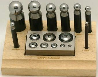 Doming / Dapping Set 9 Piece 8 Dapping Punches & Dapping Block Hardened Steel