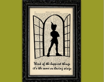 Peter Pan Silhouette Happiest Things Art Print Poster Book Nursery Dorm Room Print Gift Wall Decor Poster Dictionary Print (Nº6)