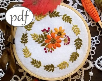 """embroidery pattern pdf - """"AUTUMN MORNING"""" - embroidery kit - pdf pattern - embroidery hoop art - - Embroidery design"""