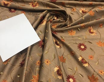 Bloom Coffee Embroidered Floral Faux Silk Fabric by the yard Drapery and pillows