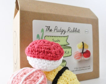 Crochet Sushi Kit, Amigurumi Kit, DIY Craft, Learn to Crochet Kit, Crochet Sushi Pattern
