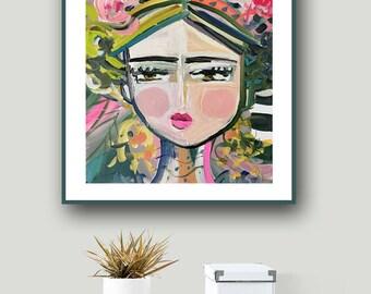 Abstract Portrait PRINT, 5x7, 8x10, 16x20, 24x40, woman portrait, Blues, canvas or paper