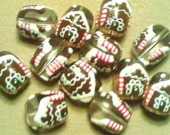 Lampwork glass Christmas beads;  whimsical gingerbread house, handcrafted lampwork glass beads, 18x15mm, 2-4pcs/3.80-7.60.