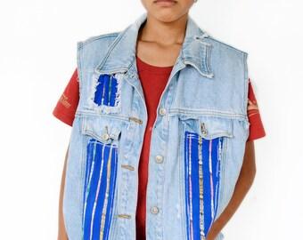 Denim Vest, Boho Vest, Hippie Vest, Upcycled vest, Free People Style, Upcycled Clothing