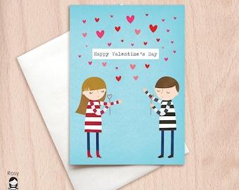 Valentine's Day Blowing Kisses - Boy & Girl - Happy Valentine Greeting Card, Valentine's Day Card, Hearts, Boyfriend Girlfriend Valentine