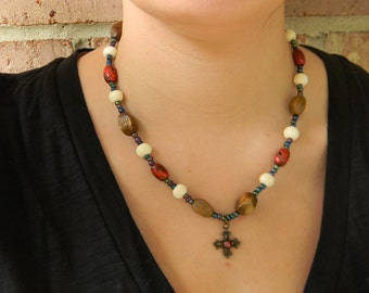 Wood and Bone Cross Necklace