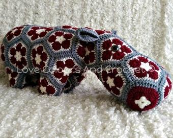 XL African Flower Hippo Stuffed Animal Toy Crochet