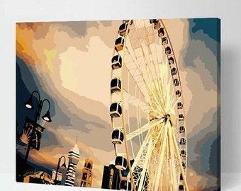 Ferris Wheel Painting Paint By Numbers Kit DIY Painting Kit DIY Oil Painting On Canvas Gifts Art Handmade Gift DIY Kit Craft Kit Wall Deco