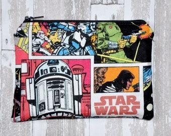 Star Wars Comic Book Coin Purse Zipper Pouch Wallet ID Holder Card Case Gift Idea
