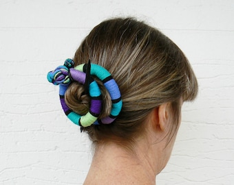Round Hair slider, Long hair barrette, Scarf pin brooch, Flexible purple bun wrap, Quirky fascinator, Textile stick clip, green, turquoise