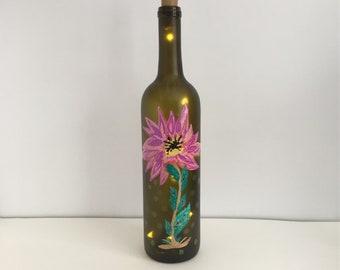 Painted Wine Bottle with Lights, Wine Bottle Decor, Light Up Bottle, Lighted Bottle, Mothers Day, Altered Bottle, Decorative Bottle