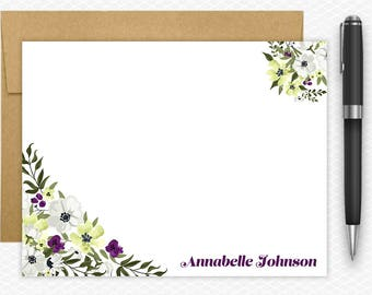 Personalized Notecard Set / Flat Personalized Stationery / Personalized Gifts / Stationery Notecards #IP-NC-003