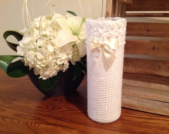 Sweater Vase White Wedding Handmade Wedding Shower Gift Idea Recycled Up-cycled Repurposed Art Bride,Bridal Table Flowers Bouquet Candle
