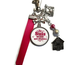 """Bag charm, door keys/home / """"I'm a school that rocks"""" / year end gift/birthday/party/thanks/holiday / Christmas"""