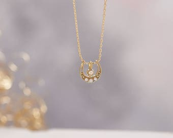 Gold Crescent Moon With Pearls And Crystal