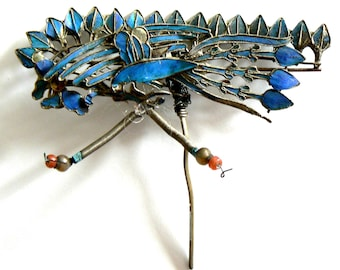 LARGE Qing Dynasty Kingfisher feather Hair Pin Antique VINTAGE Chinese Coral