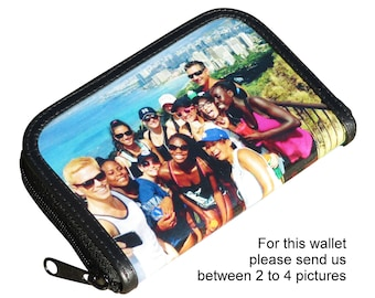 SMALL custom zip wallet for women using pictures from you - FREE SHIPPING - custom name purse initials printed gift written customized gifts